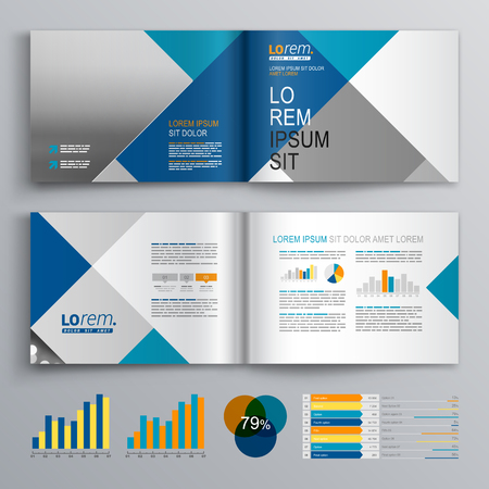 layout: Business brochure template design with white, blue and gray square pattern. Cover layout and infographics