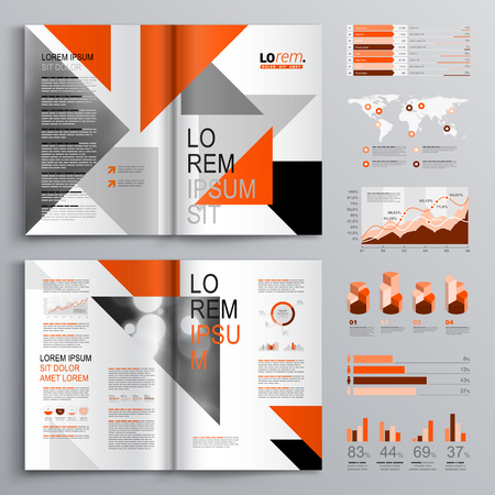 lobe: White brochure template design with orange, gray and black triangles. Cover layout and infographics