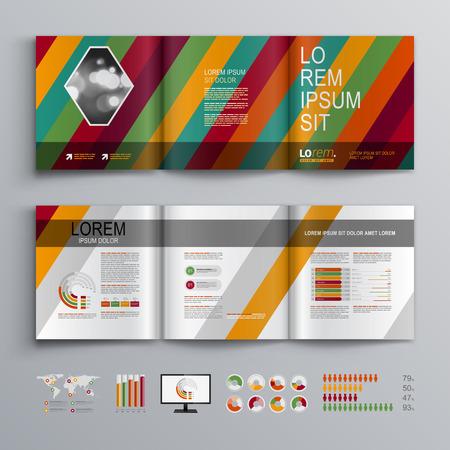 Fashion Brochure Template Design With Color Diagonal Stripes