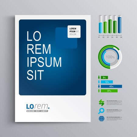 business chart: Classic brochure template design with blue and green shapes. Cover layout and infographics