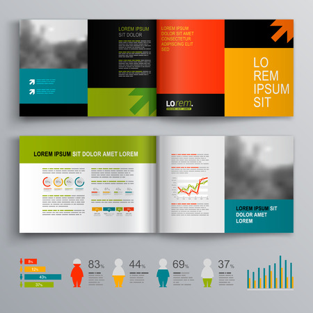 catalogue: Business brochure template design with arrows. Cover layout and infographics