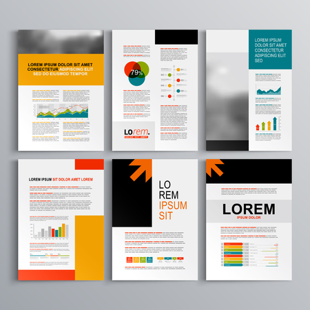 money management: Business brochure template design with arrows. Cover layout and infographics