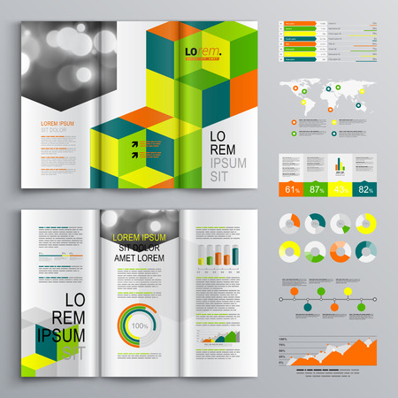 Business brochure template design with cubes and square elements. Cover layout and infographics