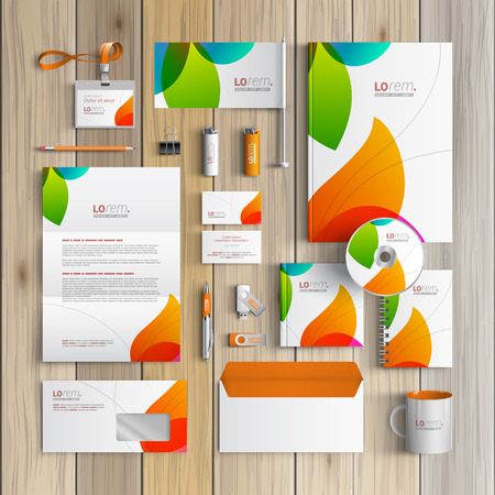 identity: White creative corporate identity template design with color shapes. Business stationery