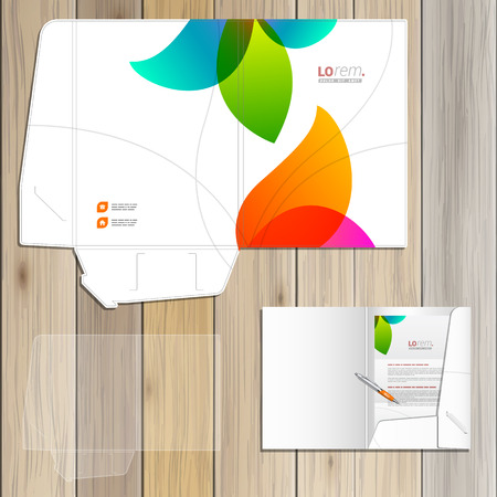 White creative folder template design for corporate identity with color shapes. Stationery set Illustration
