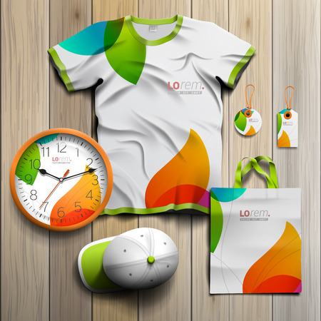 tshirts: White creative promotional souvenirs design for corporate identity with color shapes. Stationery set Illustration