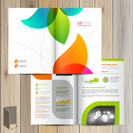 White creative brochure template design with color shapes. Cover layout