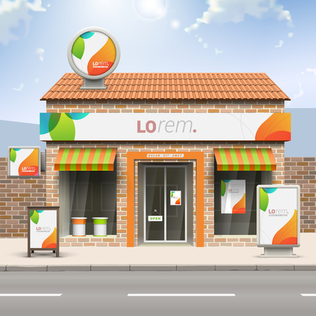 identity: White creative store design with color shapes. Elements of outdoor advertising. Corporate identity