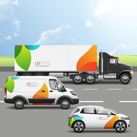 transporte: Branco design de publicidade transportes criativo com formas da cor. Modelos do carro caminhão, ônibus e passageiros. Identidade corporativa