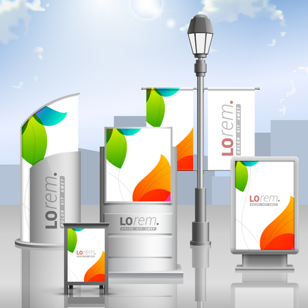 White creative outdoor advertising design for corporate identity with color shapes. Stationery set