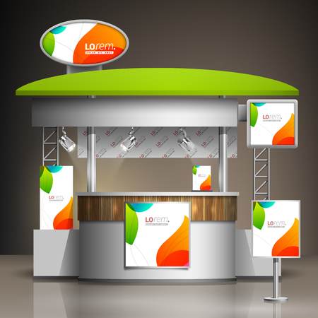 trade show: White creative exhibition stand design with color shapes. Booth template. Corporate identity
