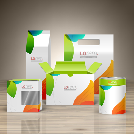 product packaging: White creative promotional package design for corporate identity with color shapes. Stationery set