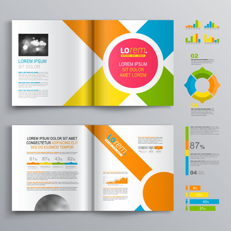 magazine template: White brochure template design with central pink circle and color diagonal stripes. Cover layout and infographics Illustration
