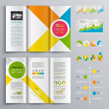 White Brochure Template Design With Central Pink Circle And Color