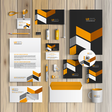 stationary: Classic black corporate identity template design with yellow geometric elements. Business stationery Illustration