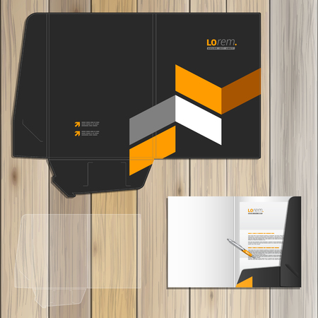 folders: Classic black folder template design for corporate identity with yellow geometric elements. Stationery set