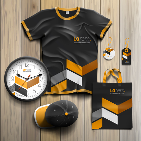 souvenirs: Classic black promotional souvenirs design for corporate identity with yellow geometric elements. Stationery set Illustration
