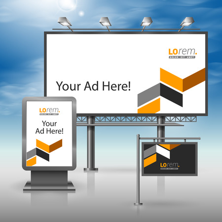 outdoor advertising: Classic black outdoor advertising design for corporate identity with yellow geometric elements. Stationery set