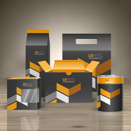 Classic black promotional package design for corporate identity with yellow geometric elements. Stationery set