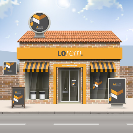 facade: Classic black store design with yellow geometric elements. Elements of outdoor advertising. Corporate identity Illustration