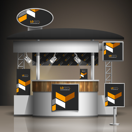 up: Classic black exhibition stand design with yellow geometric elements. Booth template. Corporate identity Illustration