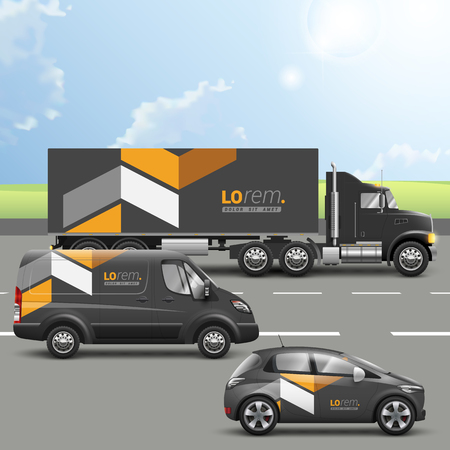 transportation company: Classic black transport advertising design with yellow geometric elements. Templates of the truck, bus and passenger car. Corporate identity