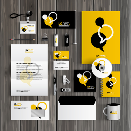 Black and yellow corporate identity template design with dialog clouds. Business stationery Vettoriali