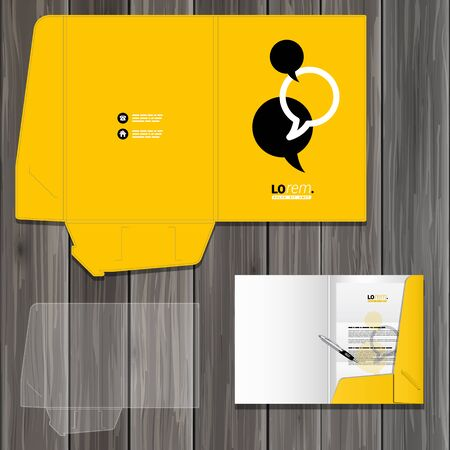 carpeta: Dise�o de plantilla de carpeta de negro y amarillo de la identidad corporativa con nubes de di�logo. Conjunto del papel