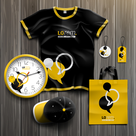 stationery set: Black and yellow promotional souvenirs design for corporate identity with dialog clouds. Stationery set Illustration