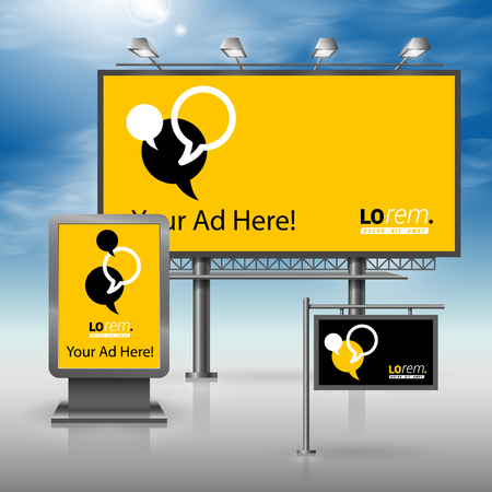 outdoor advertising: Black and yellow outdoor advertising design for corporate identity with dialog clouds. Stationery set