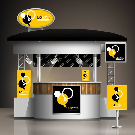 exhibitions: Black and yellow exhibition stand design with dialog clouds. Booth template. Corporate identity