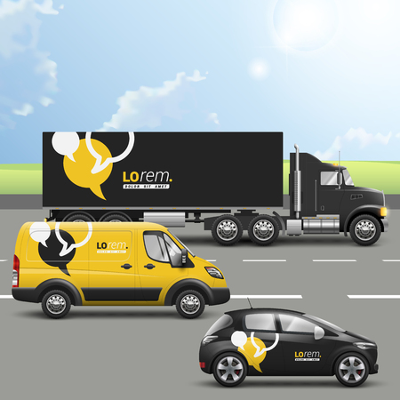 Black and yellow transport advertising design with dialog clouds. Templates of the truck, bus and passenger car. Corporate identity