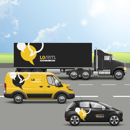 yellow black: Dise�o publicitario transporte negro y amarillo con nubes de di�logo. Plantillas del coche cami�n, autob�s y el pasajero. Identidad corporativa