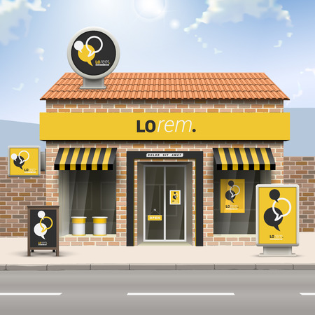 대화 구름 검정색과 노란색 매장 디자인. 옥외 광고의 요소. 기업의 정체성