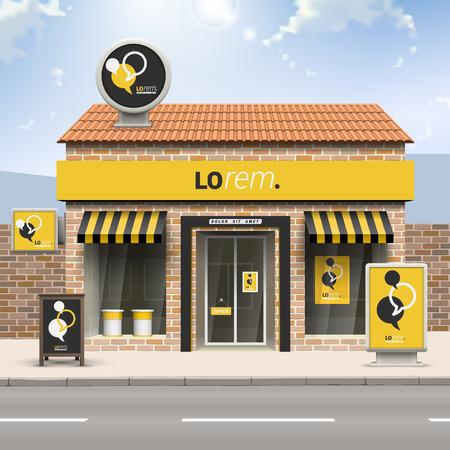 punto vendita: Store design nero e giallo con le nubi di dialogo. Elementi di pubblicità esterna. Corporate identity