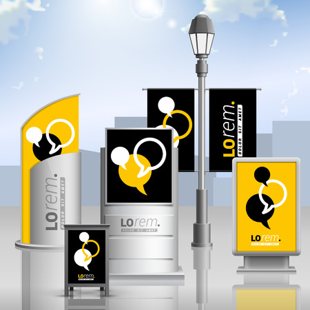billboards: Black and yellow outdoor advertising design for corporate identity with dialog clouds. Stationery set