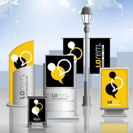 exteriores: Diseño de la publicidad exterior negro y amarillo de la identidad corporativa con nubes de diálogo. Conjunto del papel Vectores
