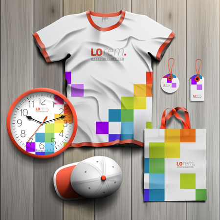 souvenir: White promotional souvenirs design for corporate identity with color square pattern. Stationery set
