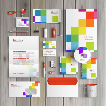stationary set: White corporate identity template design with color square pattern. Business stationery Illustration