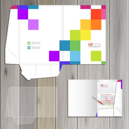 corporate identity template: White folder template design for corporate identity with color square pattern. Stationery set