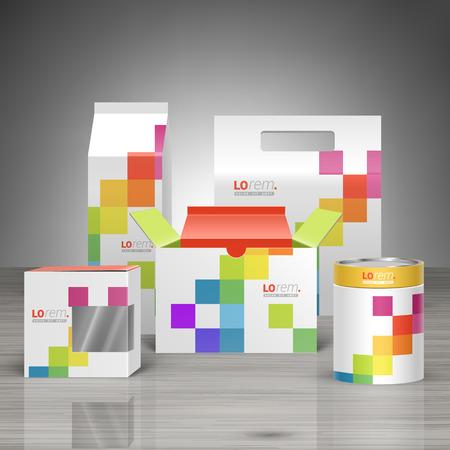 색상 사각형 패턴으로 기업의 정체성에 대한 화이트 프로모션 패키지 디자인. 문구 세트