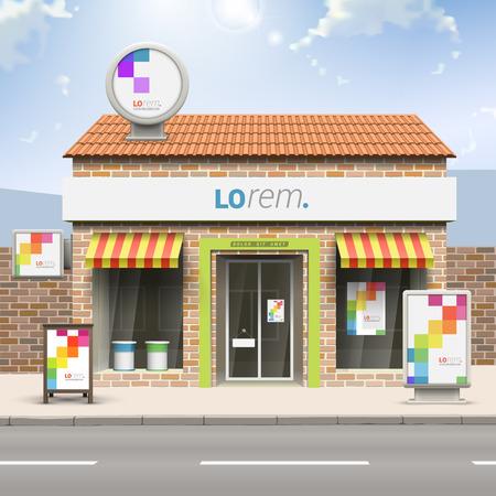 Witte store design met kleur vierkant patroon. Elementen van outdoor advertising. Bedrijfsidentiteit