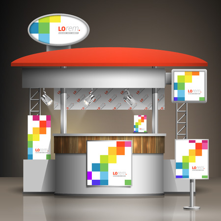 exhibitions: White exhibition stand design with color square pattern. Booth template. Corporate identity