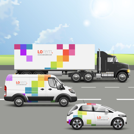 transportation company: White transport advertising design with color square pattern. Templates of the truck, bus and passenger car. Corporate identity Illustration