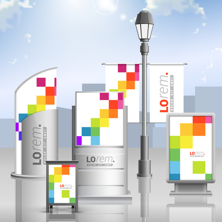 outdoor: White outdoor advertising design for corporate identity with color square pattern. Stationery set