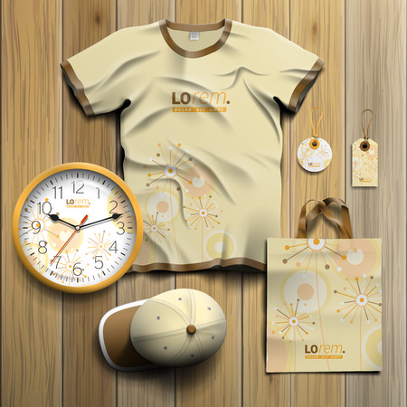 souvenirs: Vintage promotional souvenirs design for corporate identity with creative flowers and art round elements. Stationery set Illustration