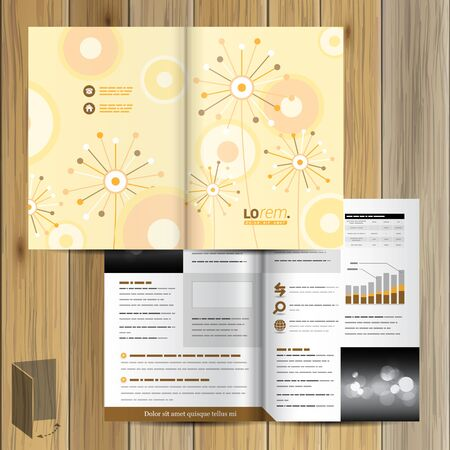 pattern corporate identity orange: Vintage brochure template design with creative flowers and art round elements. Cover layout Illustration