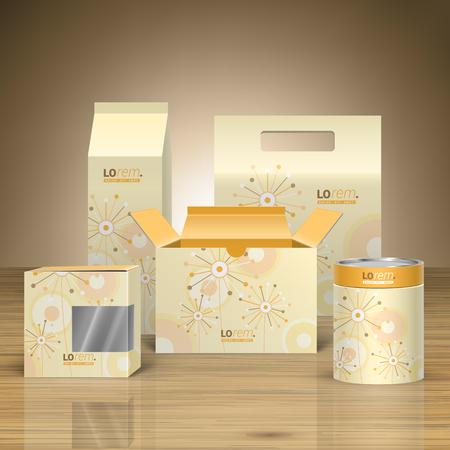 Diseño de la vendimia paquete promocional para la identidad corporativa con flores creativas y elementos redondos arte. Conjunto del papel