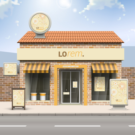 store front: Vintage store design with creative flowers and art round elements. Elements of outdoor advertising. Corporate identity