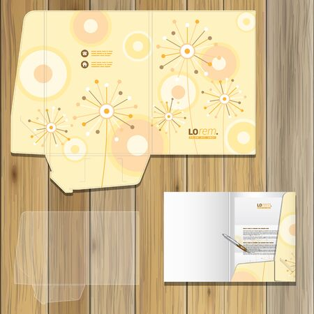 identity template: Vintage folder template design for corporate identity with creative flowers and art round elements. Stationery set